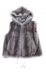 Grey Mink unisex Hooded Vest