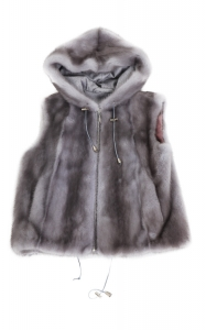 Grey Mink unisex Hooded Vest