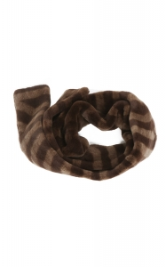 Rich Brown Sheared Mink Scarf (Long)