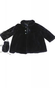 Navy Blue Sheared Mink Girl's Coat
