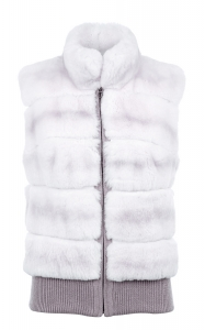 White Rex Rabbit Bomber Gilet